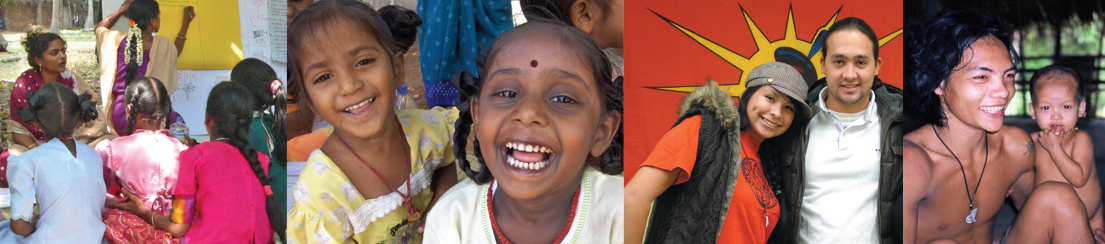 Collage of children of various ethnic background - photo material by IICRD